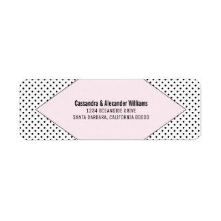 Pink Modern Polka Dots Wedding Return Address Label