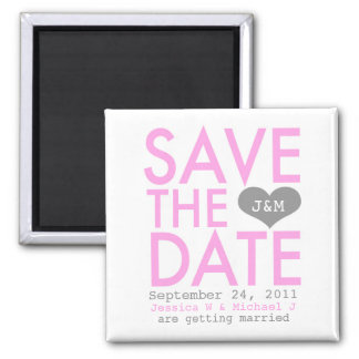 Pink Modern Save the Date Square Magnet
