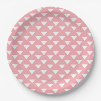Pink Modern Triangles Paper Party Supply Plate