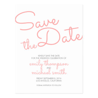 Pink Modern Typography Wedding Save the Date Postcard