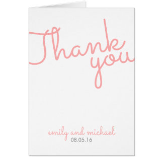 Pink Modern Typography Wedding Thank You Card