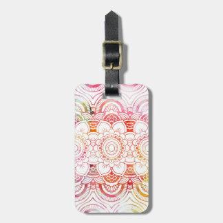 Pink modern watercolor wash coral floral mandala luggage tag