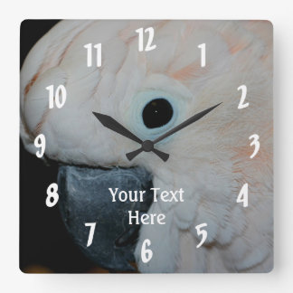 Pink Moluccan Cockatoo Parrot Animal Square Wall Clock