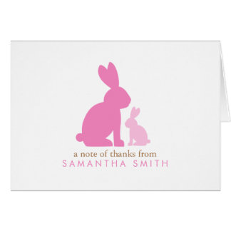 Pink Mom and Baby Rabbits Thank You Notes Greeting Cards