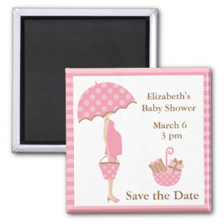 Pink Mom to be with Umbrella Square Magnet