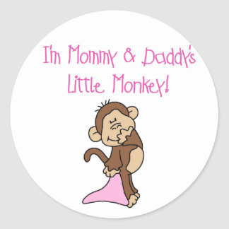 Pink Mommy and Daddy's Monkey Round Sticker
