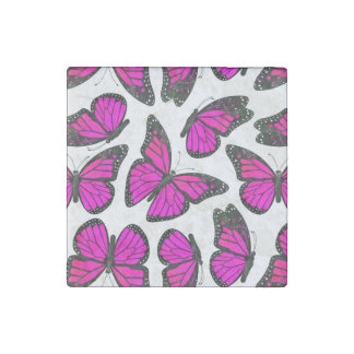 Pink Monarch Butterfly Pattern Stone Magnet
