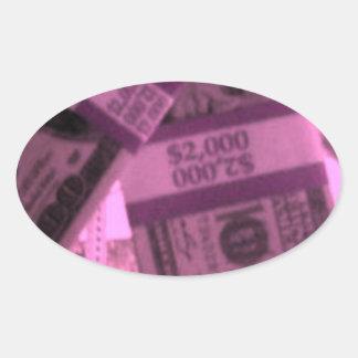 PINK MONEY OVAL STICKER