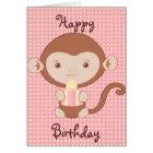 Pink Monkey Birthday Card
