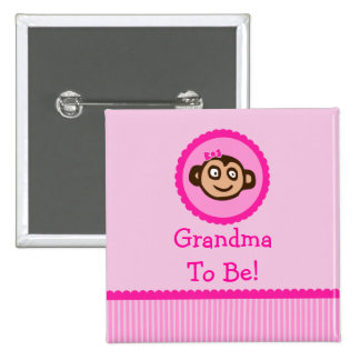 "Pink Monkey ""Grandma To Be"" Baby Shower Button"