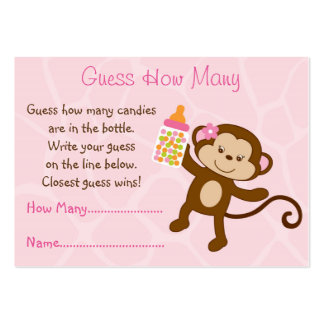 Pink Monkey Guess How Many Cards Large Business Cards (Pack Of 100)