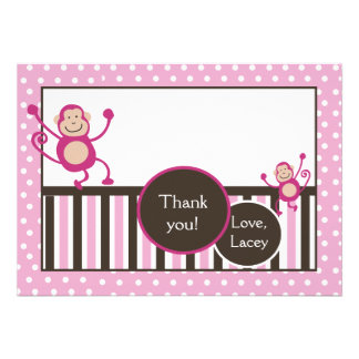 Pink Monkey Junkie Birthday Thank you card Flat Announcements