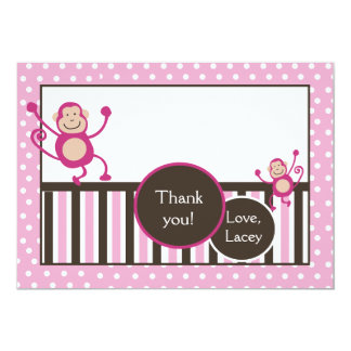 Pink Monkey Junkie Birthday Thank you card Flat Personalized Invites