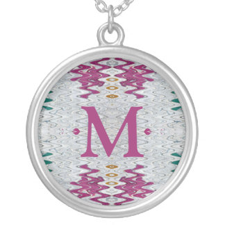 pink monogram abstract necklace