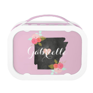 Pink Monogram Arkansas State Moveable Heart City Lunch Box