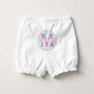 Pink Monogram + Blue Quatrefoil Diaper Cover Nappy Cover