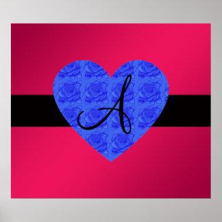 Pink monogram blue roses posters