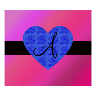 Pink monogram blue roses print