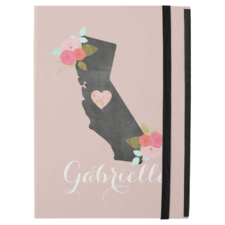 "Pink Monogram California State Moveable Heart iPad Pro 12.9"" Case"