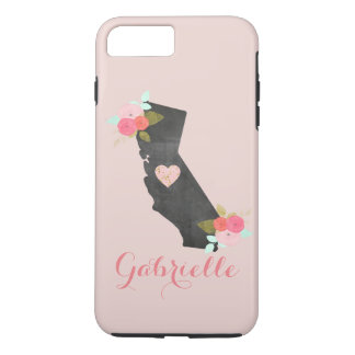 Pink Monogram California State Moveable Heart iPhone 8 Plus/7 Plus Case
