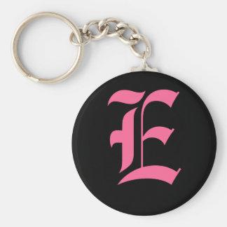 Pink Monogram E Basic Round Button Key Ring