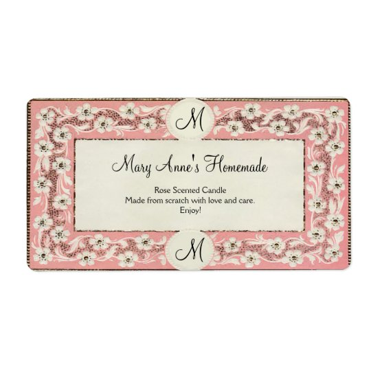 Pink Monogram Floral Custom Label Shipping Label