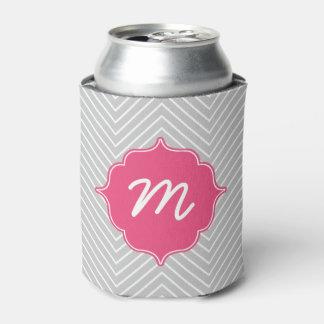 Pink Monogram Grey Thin Chevron Quatrefoil Can Cooler