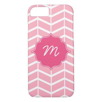 Pink Monogram Herringbone Quatrefoil iPhone 7 Case
