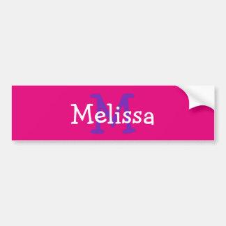 Pink Monogram Initial Name Kids Water Bottle Decal Bumper Sticker