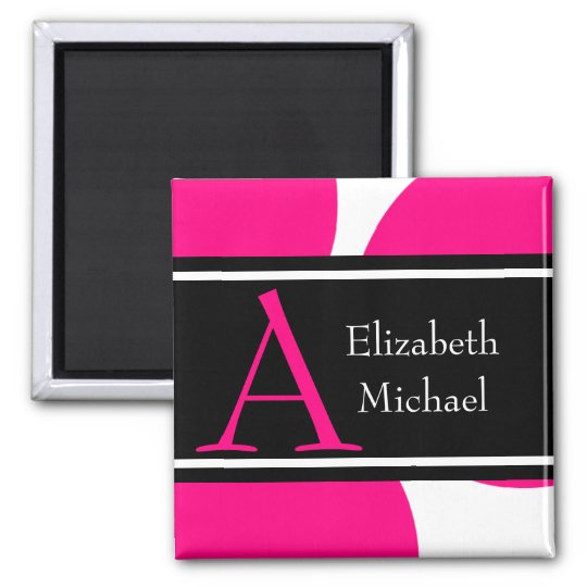 Pink Monogram Initial Wedding Magnet