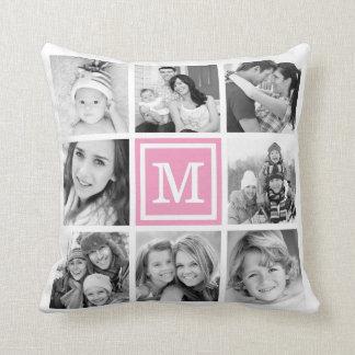 Pink Monogram Instagram Photo Collage Cushion