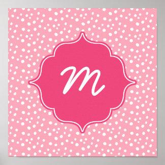 Pink Monogram Messy Dots Quatrefoil Poster