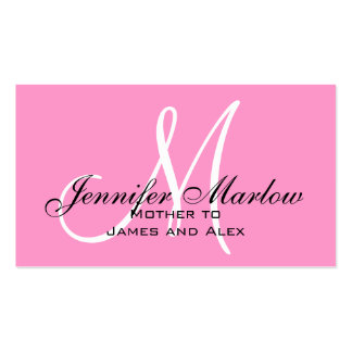 Pink Monogram Mommy Calling Card Pack Of Standard Business Cards