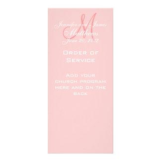 Pink Monogram Names Date Wedding Program Rack Card
