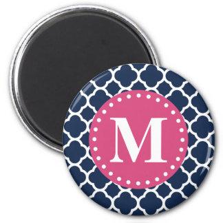 Pink Monogram Navy Quatrefoil Pattern 6 Cm Round Magnet
