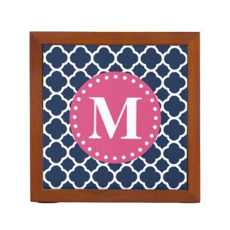 Pink Monogram Navy Quatrefoil Pattern Desk Organiser