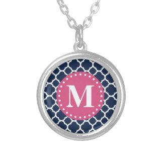 Pink Monogram Navy Quatrefoil Pattern Custom Necklace