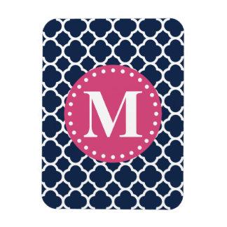 Pink Monogram Navy Quatrefoil Pattern Rectangular Magnet