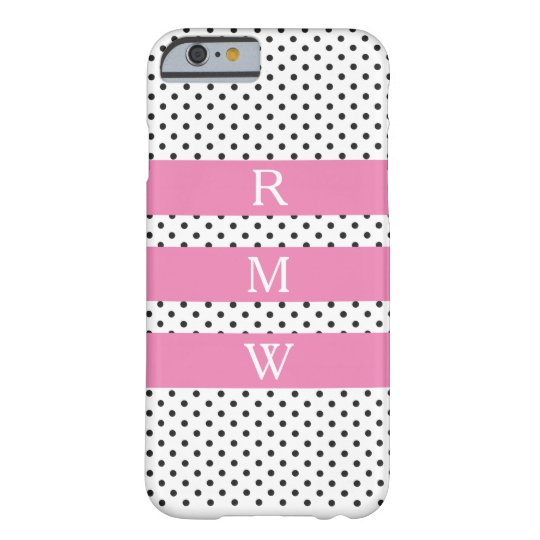 Pink Monogram on Black White Polka Dot Pattern Barely There iPhone 6 Case