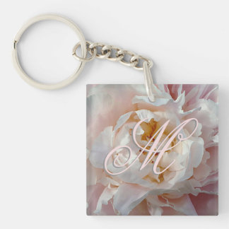 Pink Monogram Peony Watercolor Key Ring