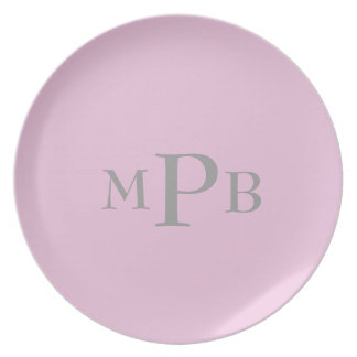 Pink Monogram Plate