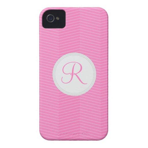 Pink Monogram Thin Chevron Pattern Blackberry Bold Cases