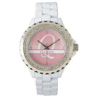 Pink Monogram Watercolor Name Watch