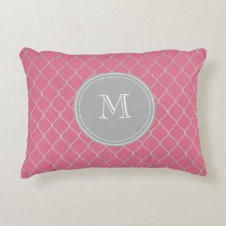 Pink Monogramed Moroccan Decorative Cushion
