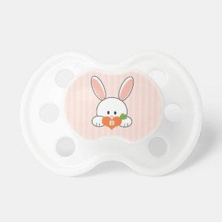 Pink Monogrammed Bunny Rabbit Pacifier