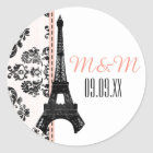 Pink Monogrammed Damask Eiffel Tower Wedding Classic Round Sticker