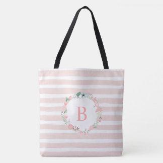 Pink Monogrammed Floral Wreath Tote Bag