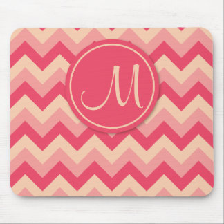 Pink Monogrammed ZigZag Pattern Mouse Pad