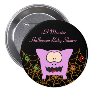 Pink Monster Baby Shower Buttons