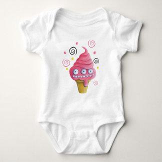 Pink Monster Ice Cream Cone Baby Bodysuit